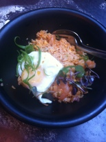 Shrimp fried rice with a sunny side up egg